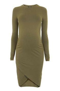 b5c4876c33 Look to sleek khaki to elevate your eveningwear with this long sleeve  bodycon dress for Maternity