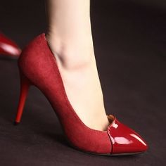 D79555 Kvoll Spring Suede Patent Leather Splicing Pointed-toe High-heeled Pump Red