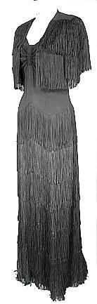 Fabulous Black Crepe Gown with Fringe Tiered Skirt and Matching Fringe Bolero