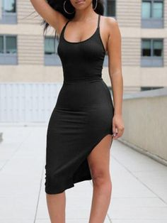 Women's Sleeveless Bandage Split Backless Eevening Dress Slim Fit Bodycon Dress Clubwear #bodycondresscasual