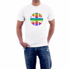 Take Pride in yourself and Pride in your flag, especially if yours happens to be the Union Jack. Lgbt T Shirts, Mens Tee Shirts, Uk Flag, Rainbow Flag, Union Jack, Gay Pride, Order Prints, Cotton Tee, Politics