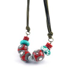Chunky tribal necklace with large red beads by osofreejewellery