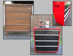 Paint Old Dresser to Look Like a Tool Box! (No DIY- just a pic). Great idea for kids room or man cave. {jparisdesigns.com}