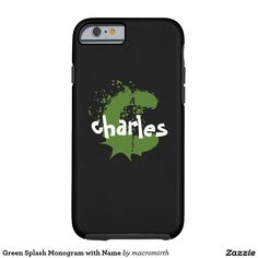 Green Splash Monogram with Name Tough iPhone 6 Case. Black with fun green and white text. Customizable.