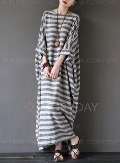 Dresses - $81.23 - Cotton Blends Linen Stripe 3/4 Sleeves Maxi Casual Dresses (1955109180)