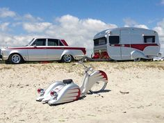 1966 MK 1 Cortina, 1974 Lilliput Caravan Trailer and Full-Custom Trike (New Zealand) Tiny Trailers, Vintage Campers Trailers, Retro Campers, Vintage Caravans, Camper Trailers, Motorcycle Camping, Camping Gear, Motorhome, Camping Vintage