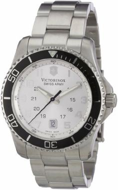 Victorinox Swiss Army Men's 241437 Maverick GS Stainless Steel Silver Dial Watch Victorinox Swiss Army. $344.99. Rotating bezel. Deployant clasp with safety. Round case. Water-resistant to 330 feet (100 M). Luminous hands; Date