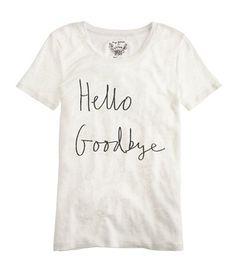 Shopping Cart: Sweater Weather, Hugo Guinness for J.Crew Hello Goodbye Tee / Garance Doré