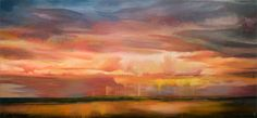 Hermelando B M. On the highway that runs from. Oil on canvas. 260 x 116 cm.  On the highway that runs from Salamanca to Valladolid, I could not do more than stop the car when I came across an imaginary world out of a landscape.  And yes, once again with the rain protagonist carving the sky and the sun qualifying colors ...
