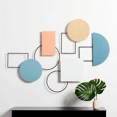 Geo Assemblage Wall Art (Set of - Sculpture Diy Wall, Wall Decor, Cute Dorm Rooms, Mirror Wall Art, Hanging Mobile, Wall Installation, Bedding Shop, Wall Art Sets, Home Interior