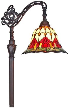 Amora Lighting Tiffany Style Tulips Reading Floor Lamp 62 In Gooseneck Floor Lamp, Adjustable Floor Lamp, Stained Glass Lamps, Tiffany Lamps, Vintage Lighting, Vintage Lamps, Light Decorations, Glass Art, Table Lamp
