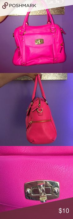 OFFERS WELCOME Hot Pink Handbag  The color is so eye catching. The brightest bag I've owned! Really cute to pair with your outfits! Has a lot of room. Minor stain inside that only you can see. The lock jewel is missing but it still functions as a lock :) Merona Bags