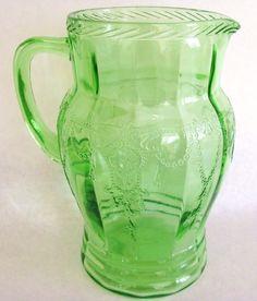 Anchor Hocking Depression Glass Green Cameo Pitcher $97.99