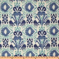Richloom Solarium Outdoor Sumter Ikat Sky from @fabricdotcom   Colors include teal and shades of blue on a bone white background.