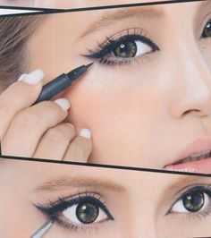 Using eyeliner and mascara in a way to widen the eyes.