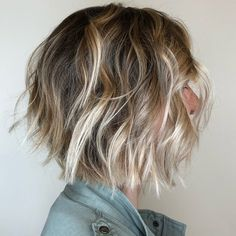 Messy Bronde Bob With Bright Blonde Highlights