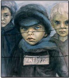 Art, Kids, Muszyńska-Zamorska, Poland   Dzieci wojny - ptaki zranione. Z połamanymi skrzydłami. Człapią bezradnie po ulicach Płynąca rzeka rozpaczy... Głęboko ukryta. Ich bólu, ich łez nie zobaczysz śmieją się lodowatymi ustami - Krzyczą milczeniem, A nocą Powraca widmo wojny Straszy, prześladuje. Odarte z szat dzieciństwa Zastygły ławą bólu w rozdartym sercu Polskiego Miasta  Anna Gadomska