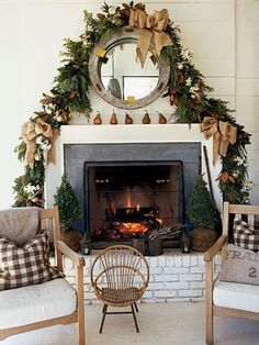 Lovely, non-traditional fireplace decor.
