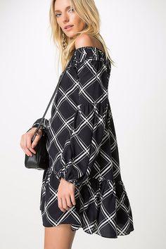 vestido seda xadrez trento preto
