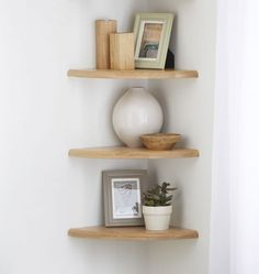 Solid oak corner shelf sets are made to suit your requirements Oak Corner Shelving is available in many sizes and can be custom made to suit your shelves bedroom Natural Solid Oak Floating Corner Shelf x x Oak Corner Shelf, Corner Shelves Living Room, Corner Shelf Design, Bedroom Corner, Wall Shelves Design, Shelves In Bedroom, Corner Shelving, Bookshelf Design, Corner Shelves Kitchen