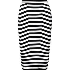 Alexander Wang Stretch cotton-blend pencil skirt (18,070 PHP) via Polyvore featuring skirts, bottoms, faldas, black, black striped skirt, black pencil skirt, black knee length pencil skirt, pencil skirt and stripe skirt