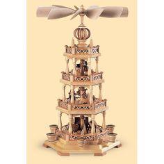 Weihnachtspyramide Erzgebirgsmotiv    3-stöckig, natur     30x30x55cm