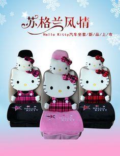 ON SALE # NEW Hello Kitty Scottish Tartan Car Seat Cover Cushion Set 3 Colors