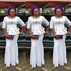 Exclusive Aso Ebi Lace Skirt and Blouse Styles for Ladies.Exclusive Aso Ebi Lace Skirt and Blouse Styles for Ladies African Lace Styles, African Lace Dresses, Latest African Fashion Dresses, African Print Fashion, Africa Fashion, African Style, African Prints, Lace Gown Styles, Ankara Short Gown Styles