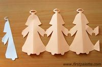 Paper Angel Chain - what a fun craft, and coloring the angels is going to be awesome! Time for glue and glitter....
