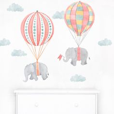 Floating Along • Pink is a fabric wall decal from the Nursery Daydreams nursery art collection.