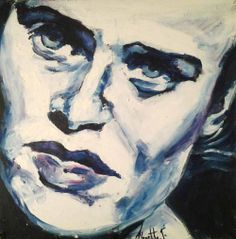 Self Portrait Blue: II - Painting by Alouette Ferreira | StateoftheArt.co.za