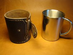 Brown Leather Cup Sleeve, metallic glass with a leather case, stainless steel cup, leather cover for cup, Tumbler Sleeve Leather Tool Belt, Leather Key Holder, Leather Camera Strap, Leather Tooling, Camera Straps, Leather Cigarette Case, Leather Phone Case, Leather Wallet, Leather Bags