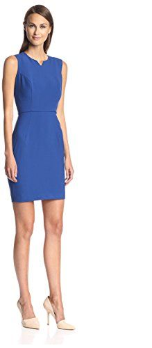 SOCIETY NEW YORK Women's Notched Neck Sheath Dress, True Royal, 10 US -- To view further for this article, visit the image link. #WomensSuitingBlazers