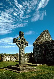 "8th century Kildalton Cross, Islay's ""most famous treasure"",carved out of local epidiorite."