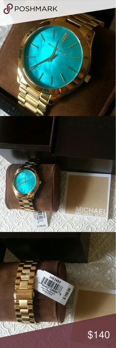 NEW Michael Kors Women?s Watch Pearl Blue *Authentic*** Price is Firm*****  LAST ONE Org. $195  SERIES:Slim Runway  MODEL:MK3492  GENDER:Ladies  MOVEMENT:Quartz CASE SIZE:42 mm  CASE THICKNESS:8 mm  DIAL TYPE: Analog  DIAL COLOR:Blue Mother Of Pearl  BAND MATERIAL:Gold Tone Stainless Steel  BAND WIDTH:20 mm WATER RESISTANCE:50 meters / 165 feet Michael Kors Accessories Watches