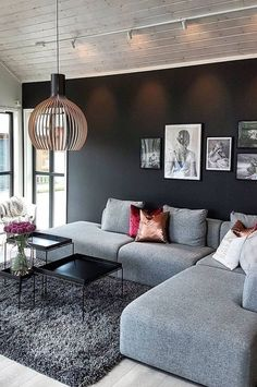 This calm Scandinavian home displays how a modern lifestyle can be combined with coziness creating a homey… Living Room Decor Colors, Living Room Designs, Living Room Sofa, Home Living Room, Classy Living Room, Mexican Home Decor, Home Decor Kitchen, Apartment Design, House Rooms