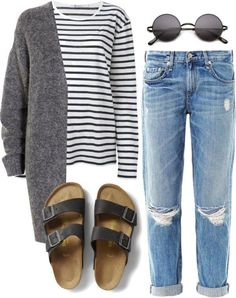 Pocahontesoutfits: untitled by pocahontees birkenstock outfit, birkenstock arizona, boyfriend jeans outfit Look Fashion, Spring Fashion, Autumn Fashion, Fashion Outfits, Jeans Fashion, Fashion 2015, Curvy Fashion, Ladies Fashion, 90s Fashion