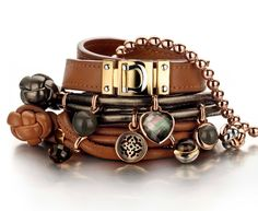 Tirisi Moda - Leather bracelets cognac and brown colors. Mix and combine with this trendy bracelets. Shop online at Missibink.nl