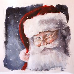 Original painting  Santa by StephJonesArtist on Etsy, £75.00