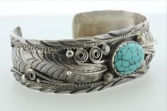 Signed S.E. Navajo Sterling Silver Turquoise Feather Scroll Wide Cuff Bracelet   | eBay