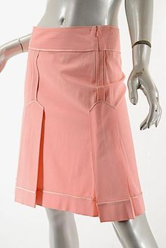 MOSCHINO Cheap & Chic Pink Bottom Pleated Skirt w/ Satin Piping Sz 42/US 6 #Moschino #Pleated
