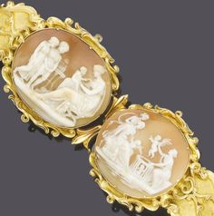 A mid 19th century shell cameo bracelet, circa 1840  The two oval shell cameo plaques depicting classical scenes within scrolling gold borders, to a tapering brushed and polished bracelet with further scrolling motifs, central link broken, length 17.0cm.
