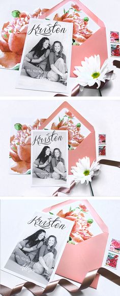 This beautiful Peach, Black and White Bridesmaids Proposal is perfect to pop a question. Each card will have an individual photo of your girlfriend, will come in a peach envelope and gorgeous floral matching liner. Email me your photos to happymomentsetsy@gmail.com
