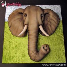 Elephant Cake - Cake by Yeners Way - Cake Art Tutorials Africa Cake, Jungle Cake, Cake Pictures, Cake Pics, Elephant Cakes, Sculpted Cakes, 3d Cakes, Cake Gallery, Novelty Cakes
