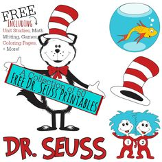 A Collection of 50 Free Dr. Seuss Printables including Math, Games, Writing, + More!