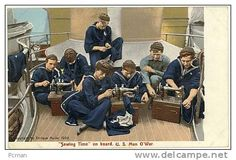 """Sewing Time"" On Board.  U.S. Man O´War. (Navy) -- # 7944 -- By Enrique Muller 1906 - Chromo. - Warships"