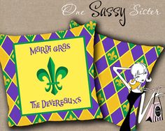 Personalized Mardi Gras Pillow Purple Green and by onesassysister, $60.00