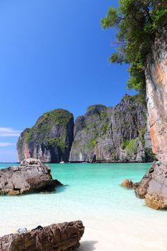 Maya Beach on Ko Phi Phi Leh in Thailand: as seen in the Leonardo Dicaprio film The Beach. #Thailand #TheBeach: