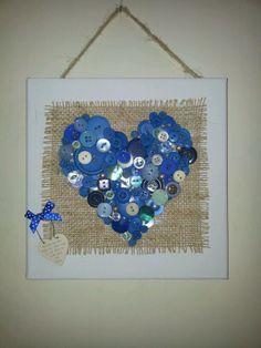 Button art heart canvas burlap