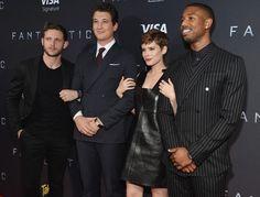 Kate Mara, Jamie Bell, Miles Teller, and Michael B. Jordan attends the New York premiere of 'Fantastic Four'